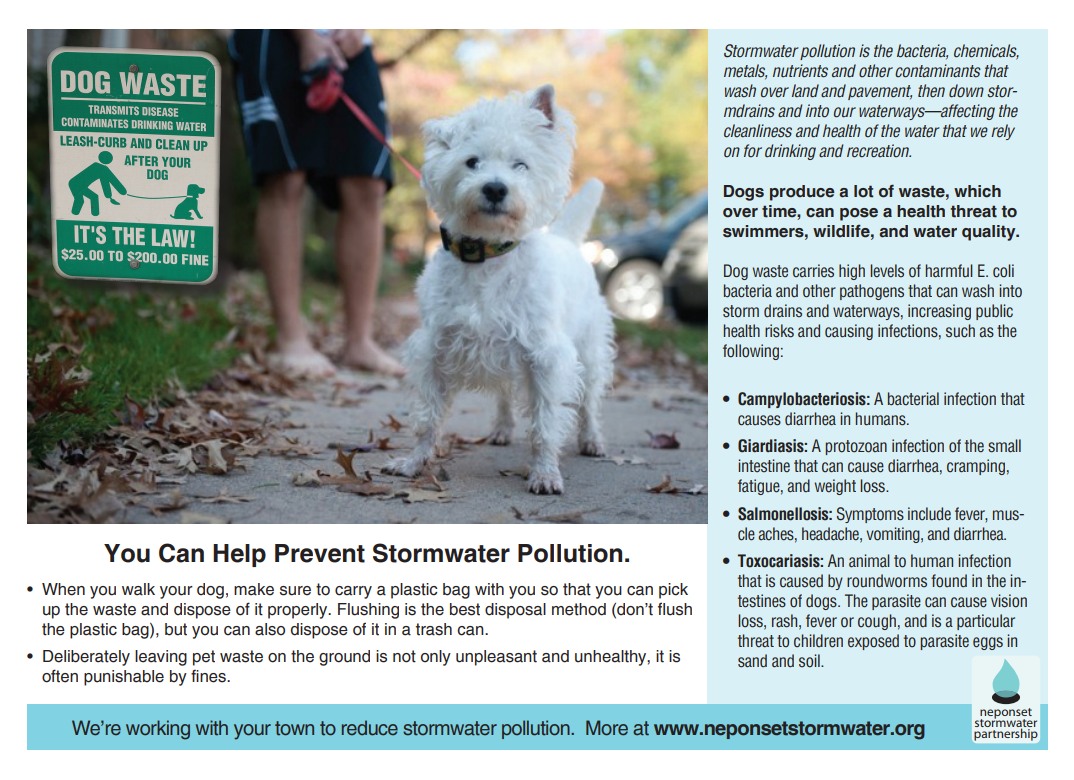 Pet waste can contaminate our watershed.
