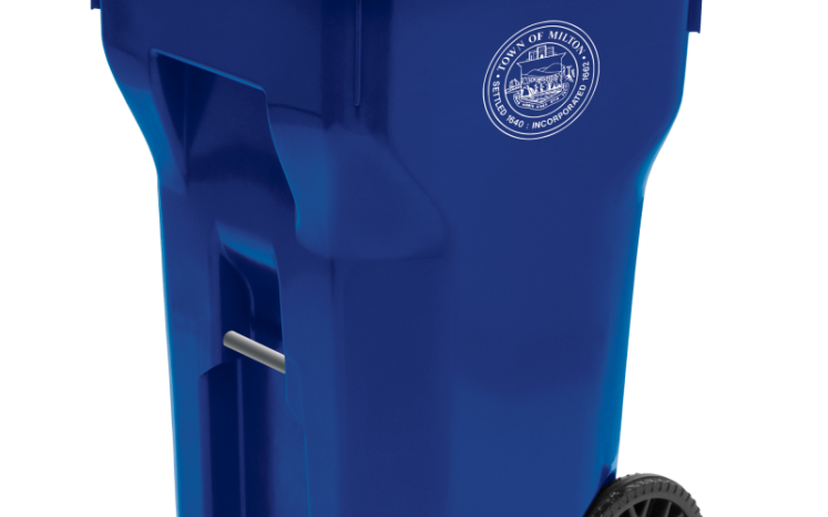 image: 64 gallon blue recycling cart with Town of Milton seal