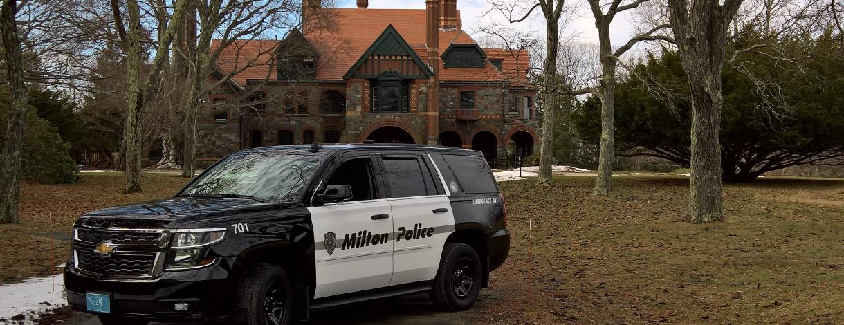 Image of Police Tahoe in front of Eustis Estate